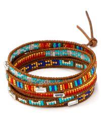 Chan Luu - Orange Five Wrap Seed Bead Leather Bracelet - Lyst