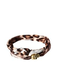 ASOS - Black Skull Leopard Wrap Bracelet Exclusive To Asos - Lyst