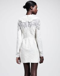 Valentino - White Longsleeve Embroidered Wool Dress - Lyst