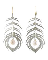 Annette Ferdinandsen | Metallic Peacock Feather Earring | Lyst