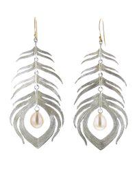 Annette Ferdinandsen - Metallic Peacock Feather Earring - Lyst
