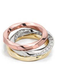 COACH - Metallic Twisted Stacking Rings - Lyst