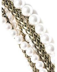 Lanvin - White Metropolis Pearl and Chain Bracelet - Lyst