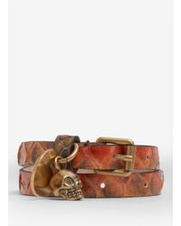 Alexander McQueen | Brown Skull-detailed Snake Wrap Bracelet | Lyst
