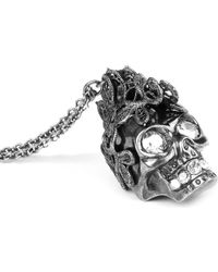 Alexander McQueen - Metallic Punk Lace Skull Pendant Necklace - Lyst