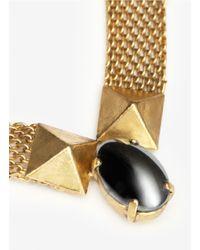 Ela Stone | Metallic Davy Chain Mesh Stone Necklace | Lyst