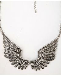 Forever 21 - Metallic Etched Wings Bib Necklace - Lyst