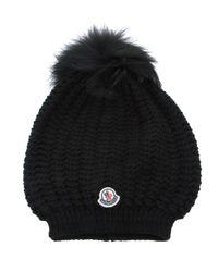 Moncler | Black Fox Fur Pompom Beanie Hat | Lyst