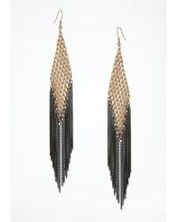 Bebe - Black Mesh Fringe Earrings - Lyst