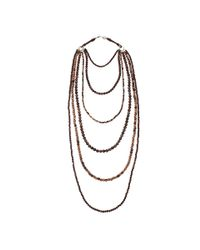 Brunello Cucinelli Brown Multi Strand Wood Necklace