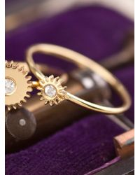 Clarice Price Thomas - Metallic Tiny Gold Cog Ring With White Sapphire - Lyst