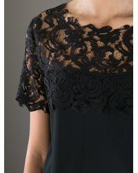 Frankie Morello - Black Lace Yoke T-shirt - Lyst
