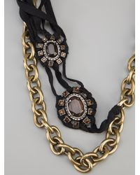 Lanvin | Metallic Chain Link and Crystal Necklace | Lyst