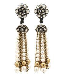 Lanvin - Metallic Crystal Pearl Tassel Earrings - Lyst