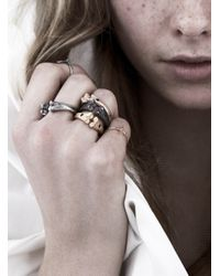 Rachel Entwistle | Gray Black Silver Bone Ring With Emeralds - Last One | Lyst