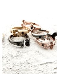 Rachel Entwistle - Metallic Bone Ring Gold With Rubies - Lyst