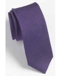 Calibrate | Purple 'madison' Solid Silk Tie for Men | Lyst