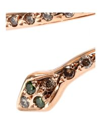 Ileana Makri - Pink 18kt Rose Gold Small Python Ring with Brown and Green Diamonds - Lyst