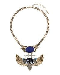 TOPSHOP - Metallic Bird Drop Necklace - Lyst