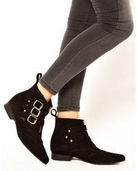 Underground | Black Blitz Suede Winklepicker Ankle Boots | Lyst
