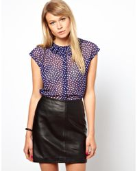 ASOS - Blue Blouse with Pleat Detail Collar in Dotty Print - Lyst