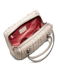 COACH | Gray Madison Madeline Eastwest Satchel in Gathered Chevron Leather | Lyst