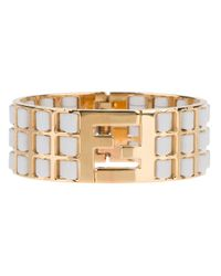Fendi | Metallic Logo Lattice Bracelet | Lyst