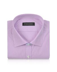 FORZIERI - Slim Fit White And Pink Check Cotton Dress Shirt for Men - Lyst