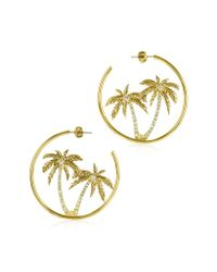 Juicy Couture | Metallic Palm Tree Hoop Earrings | Lyst