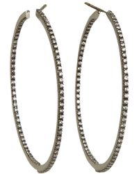 Sidney Garber | Metallic Diamond Black Gold Medium Perfect Round Hoop Earrings | Lyst