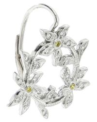 Cathy Waterman - White Circle Of Flowers Earring - Lyst