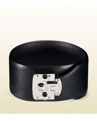 Gucci | Black Leather Bracelet With Lock Closure for Men | Lyst