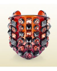 Gucci | Red Plexiglass Cuff with Crystal Studs | Lyst