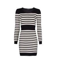 Mango - Black Stripped Cotton Knit Dress - Lyst