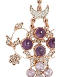 Percossi Papi - Purple Rose Goldplated Amethyst and Seed Pearl Earrings - Lyst