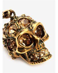 Alexander McQueen | Metallic Crystal Embedded Skull Pendant Necklace | Lyst