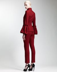 Alexander McQueen - Red Abbreviated Pintuck Pants Ruby - Lyst