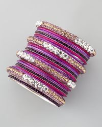 Chamak by Priya Kakkar - Metallic Set Of 20 Glitter Crystal Bangles - Lyst