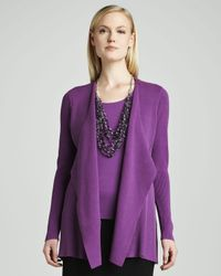 Eileen Fisher - Purple Silkcotton Interlock Sweater Jacket - Lyst