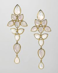 Elizabeth Showers | Natural Mariposa 18k Gold Long Milky Quartz Chandelier Earrings | Lyst