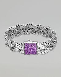 John Hardy | Metallic Classic Chain Large Braided Silver Bracelet Amethyst | Lyst