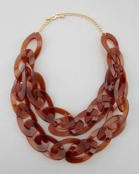 Kenneth Jay Lane | Red Doublestrand Enamel Link Necklace Tortoise | Lyst