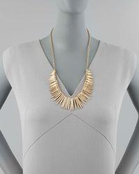 Panacea - Metallic Hammered Spiked Fringe Necklace - Lyst