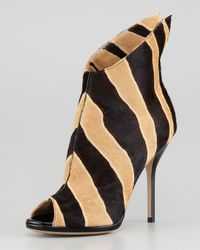Paul Andrew | Multicolor Zebraprint Calf Hair Peeptoe Bootie | Lyst