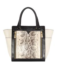 Vince Camuto | Black Tara Leather Colorblock Tote Bag | Lyst