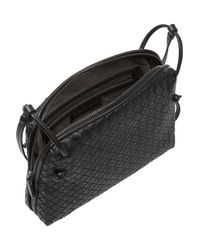 Bottega Veneta - Black Intrecciato Small Leather Shoulder Bag - Lyst