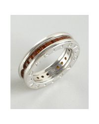 BVLGARI - Metallic White Gold and Garnet B Zero Ring - Lyst