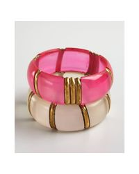 Chamak by Priya Kakkar | White Set Of Two Hot Pink and Pearl Acrylic Bangle Bracelet | Lyst