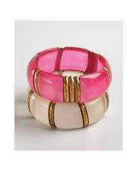Chamak by Priya Kakkar   White Set Of Two Hot Pink and Pearl Acrylic Bangle Bracelet   Lyst