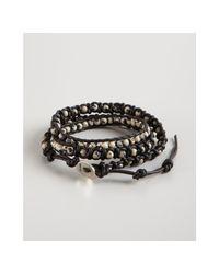 Chan Luu - Black Leather and Dalmatian Jasper Wrap Bracelet for Men - Lyst